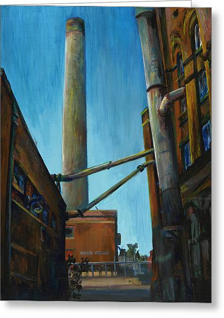 Power Plants Paintings Greeting Cards - Hamm Brewery Greeting Card by Grace Hasbargen