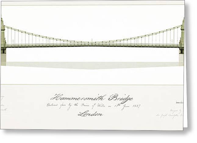 Suspension Drawings Greeting Cards - Hammersmith Bridge Greeting Card by Justin Fagence