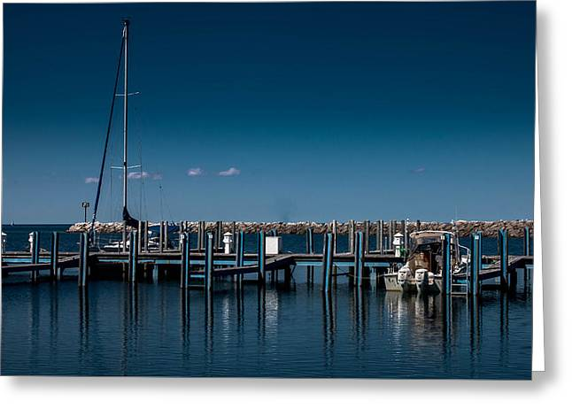 Blue Sailboats Greeting Cards - Hammond Bay  Greeting Card by Denny Ray Hubbard