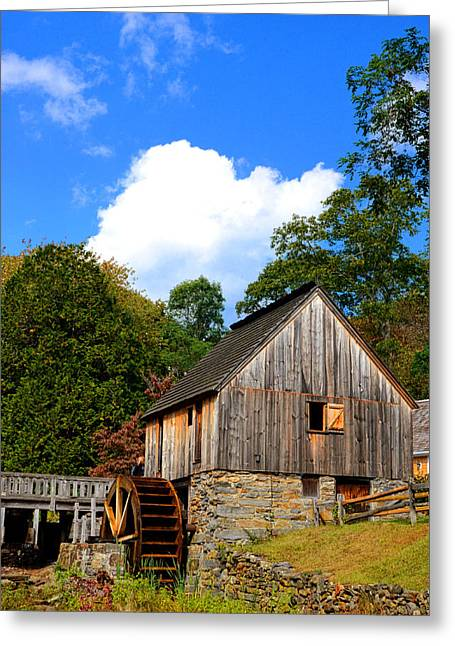 Old Mill Scenes Paintings Greeting Cards - Hammond Gristmill Rhode Island Greeting Card by Lourry Legarde