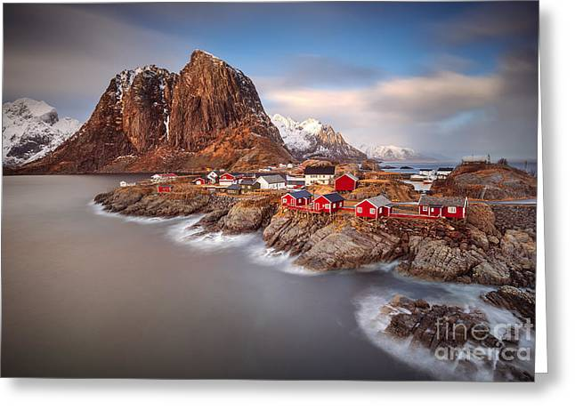 Nature Scene Greeting Cards - Hamnoy Greeting Card by Pawel Klarecki