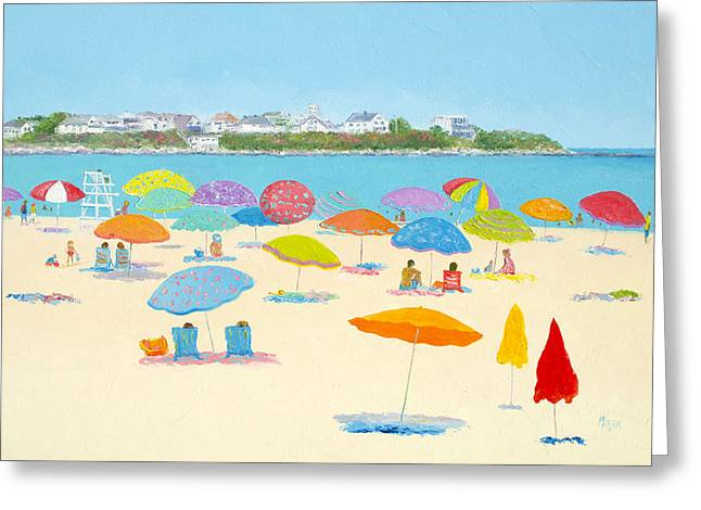 Hamptons Greeting Cards - Hampton Beach Umbrellas Greeting Card by Jan Matson