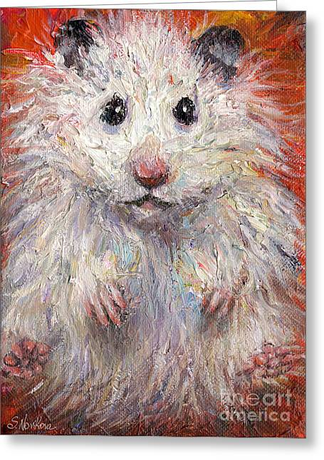 Custom Portrait Greeting Cards - Hamster Painting  Greeting Card by Svetlana Novikova