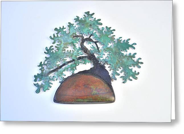 Red Art Sculptures Greeting Cards - Han Kengai Bonsai Brooch with Senora Sunrise Gemstone Greeting Card by Vanessa Williams