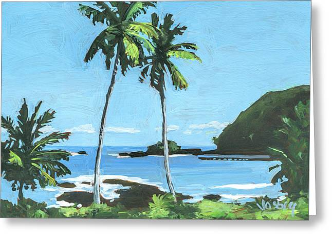 Hana Bay Maui Greeting Card by Stacy Vosberg