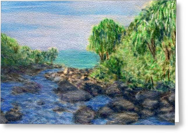 Island Greeting Cards - Hanakapia Flows Greeting Card by Kenneth Grzesik