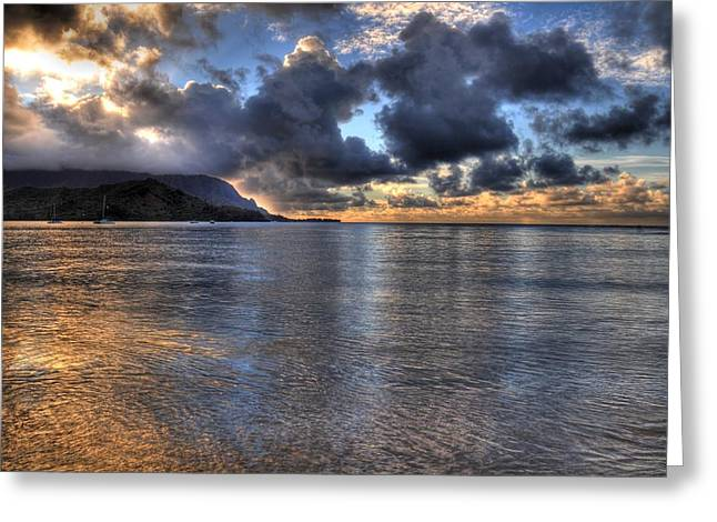 Ocean Landscape Greeting Cards - Hanalei Bay HDR Greeting Card by Kelly Wade