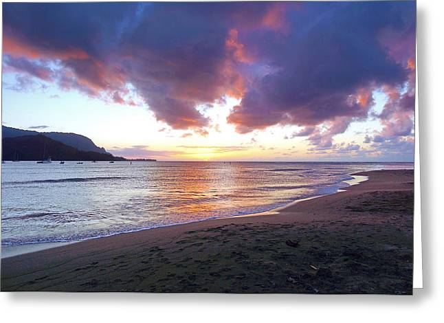Kevin W. Smith Greeting Cards - Hanalei Bay Sunset Kauai Greeting Card by Kevin Smith