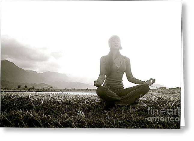 Youthful Greeting Cards - Hanalei Meditation Greeting Card by Kicka Witte - Printscapes