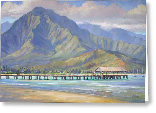 Ocean Landscape Greeting Cards - Hanalei Pier Greeting Card by Jenifer Prince
