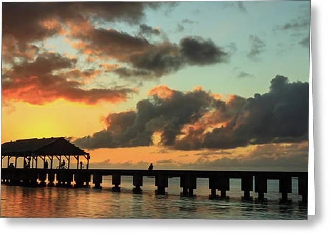 Hanalei Pier Sunset Panorama Greeting Card by James Eddy