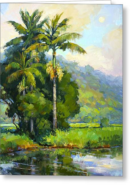 Hanalei River Moonrise Greeting Card by Jenifer Prince