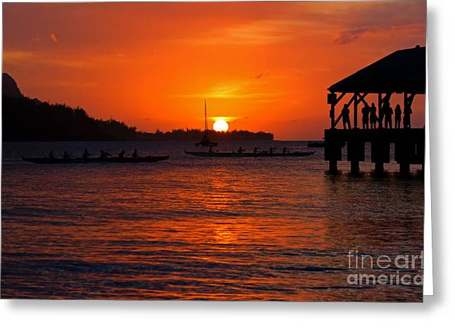 North Shore Greeting Cards - Hanalei Sunset Greeting Card by Mike  Dawson