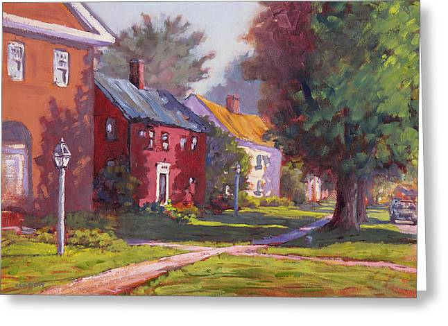 New England Village Paintings Greeting Cards - Hancock Village Scene Greeting Card by Ken Fiery