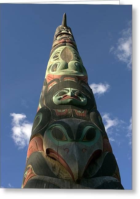 Tlingit Greeting Cards - Hand-carved Totem Pole Of The Tlingit Greeting Card by Ralph Lee Hopkins