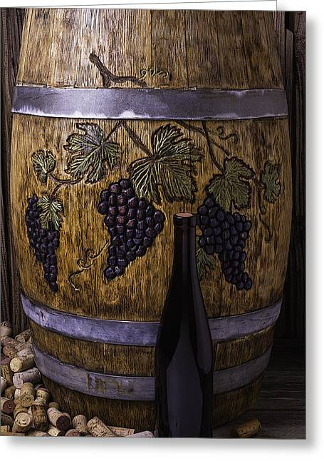 Cooperage Greeting Cards - Hand Carved Wine Barrel Greeting Card by Garry Gay