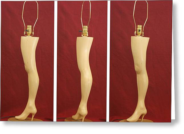 Wood Carving Sculptures Greeting Cards - Hand Carved Wood Leg Lamp Greeting Card by Mike Burton