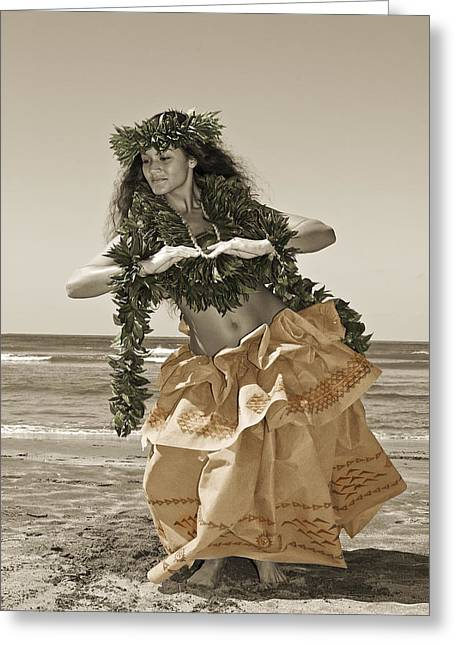 Island Cultural Art Greeting Cards - Hand Colored Hula Greeting Card by Himani - Printscapes