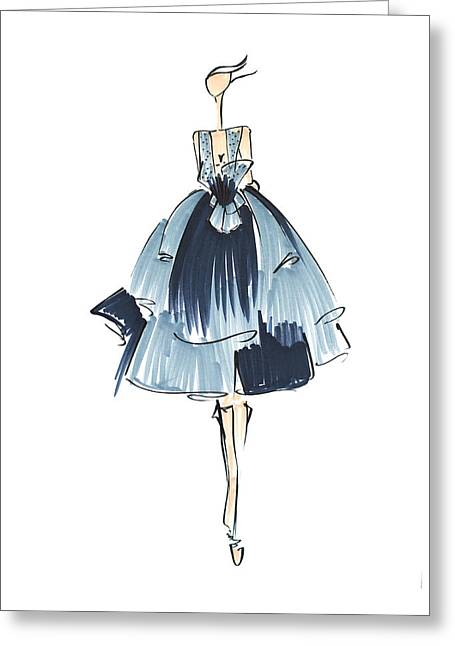 Pen And Ink Drawing Greeting Cards - Hand Drawn Fashion Illustration Greeting Card by Anukriti Goswami