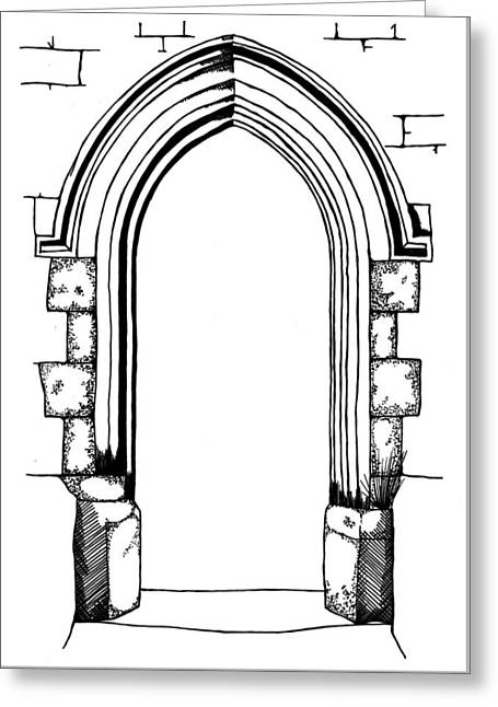 Hand Drawn Line Drawing Of Medieval Style Stone Arch Greeting Card by Matthew Gibson