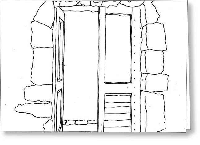 Hand Drawn Line Drawing Of Old Mediterranean Door Greeting Card by Matthew Gibson