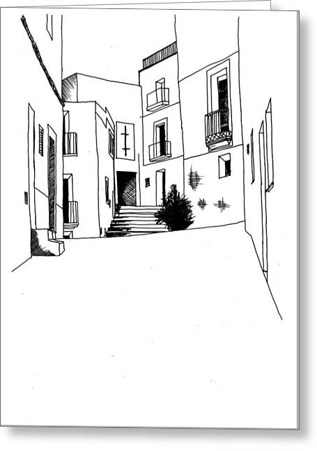 Hand Drawn Line Drawing Of Old Mediterranean Style Street Greeting Card by Matthew Gibson
