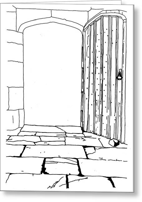 Hand Drawn Line Drawing Of Wooden Gate Into Garden Greeting Card by Matthew Gibson