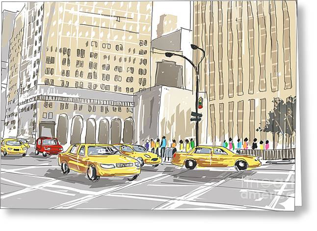Hand Drawn Sketch Of A Busy New York City Street Greeting Card by Jorgo Photography - Wall Art Gallery