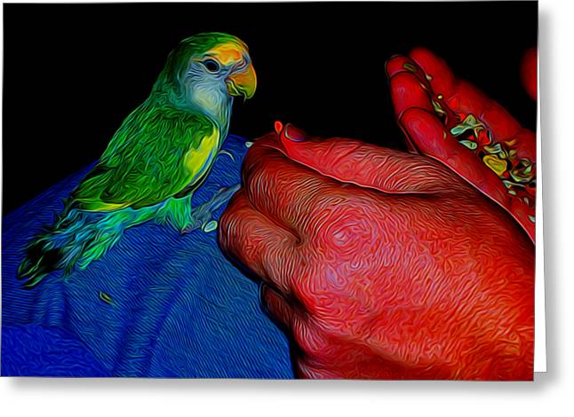 Hand Fed In Abstract Greeting Card by Kristalin Davis