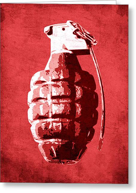 """pop Art"" Greeting Cards - Hand Grenade on Red Greeting Card by Michael Tompsett"