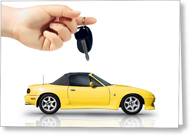 Owner Greeting Cards - Hand Holding Key To Yellow Sports Car Greeting Card by Ryan Jorgensen