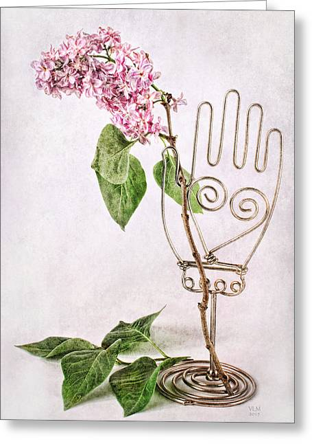 """indoor"" Still Life Mixed Media Greeting Cards - Hand Holding Lilac Branch Greeting Card by Vicki McLead"