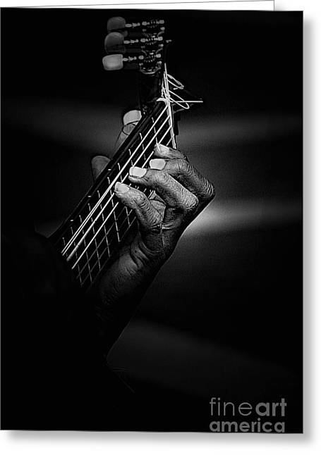 Hand Of A Guitarist In Monochrome Greeting Card by Avalon Fine Art Photography