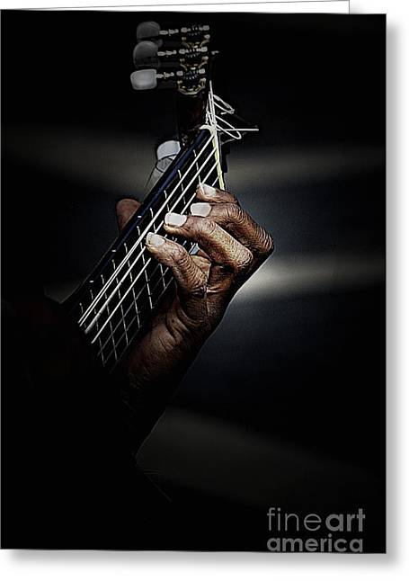 Guitar Greeting Cards - Hand of guitarist Greeting Card by Sheila Smart