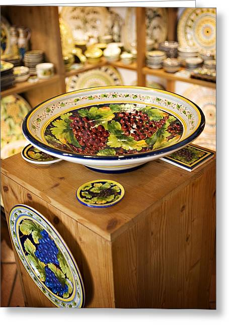 Italian Shopping Photographs Greeting Cards - Hand Painted Dishes Greeting Card by Marilyn Hunt