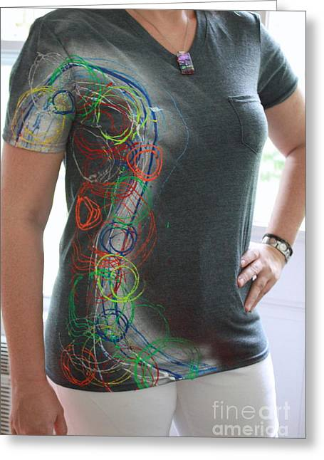 Hand Tapestries - Textiles Greeting Cards - Hand Painted Tshirts Greeting Card by Laura Miller