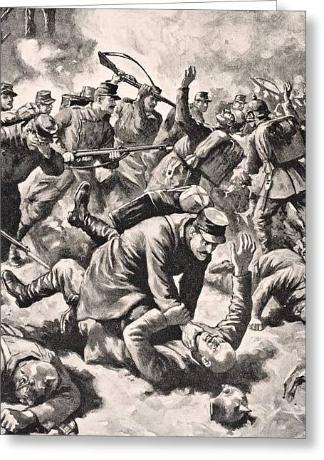 Western Front Greeting Cards - Hand To Hand Fighting On The Western Greeting Card by Ken Welsh