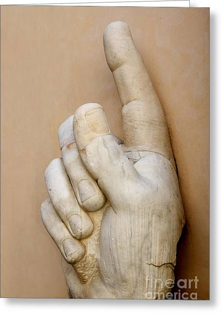 Sculptures Sculptures Greeting Cards - Hand with pointing index finger. statue of Constantine. Palazzo dei Conservatori. Capitoline Museums Greeting Card by Bernard Jaubert
