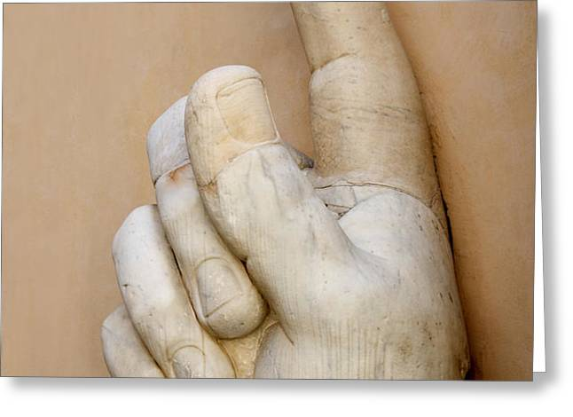 Hand with pointing index finger. statue of Constantine. Palazzo dei Conservatori. Capitoline Museums Greeting Card by BERNARD JAUBERT