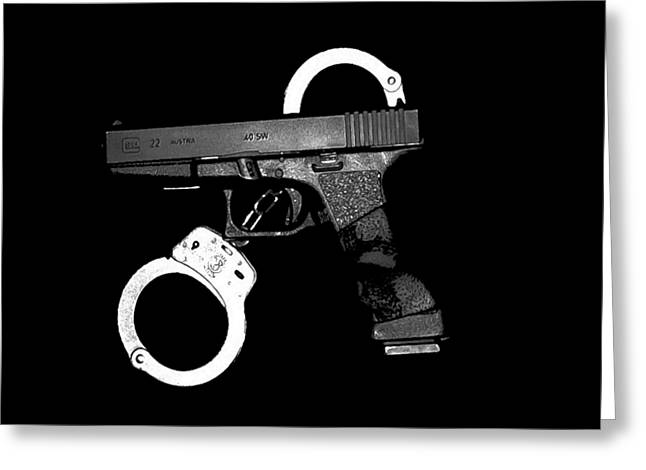 Straps Greeting Cards - Handgun and Handcuffs .png Greeting Card by Al Powell Photography USA