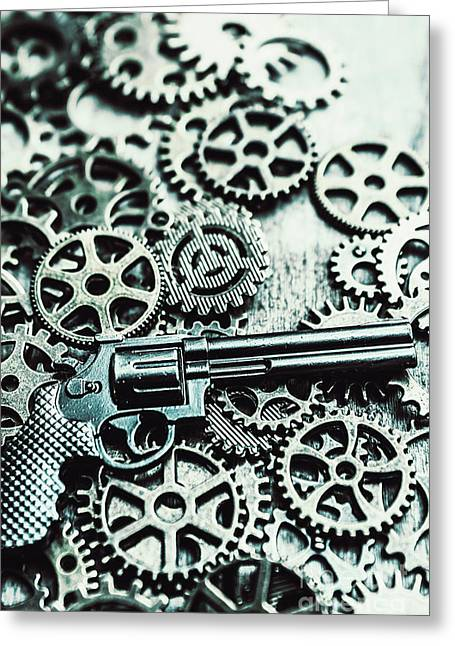 Handguns And Gears Greeting Card by Jorgo Photography - Wall Art Gallery