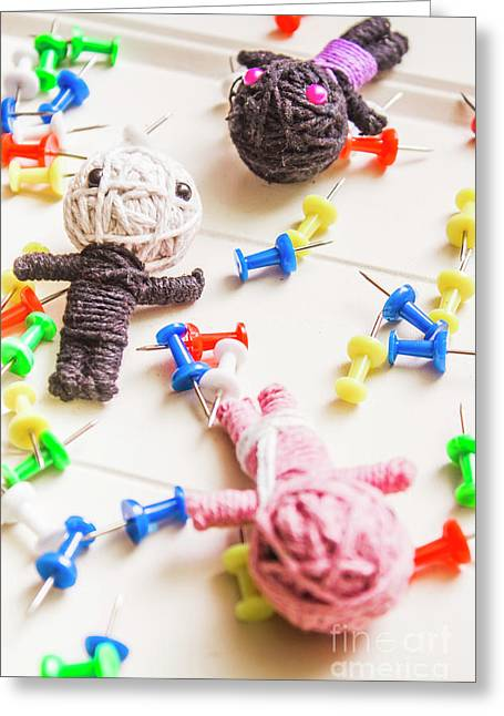 Handmade Knitted Voodoo Dolls With Pins Greeting Card by Jorgo Photography - Wall Art Gallery