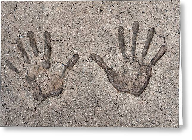 Cement Greeting Cards - Handprints Greeting Card by Dan Holm