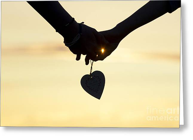 Silhouettes Greeting Cards - Hands and Heart  Greeting Card by Tim Gainey