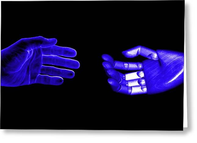 Charlotte Digital Art Greeting Cards - Hands in Blue Greeting Card by Morgan Carter