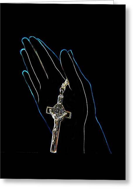 Hands In Prayer Greeting Card by Art Spectrum