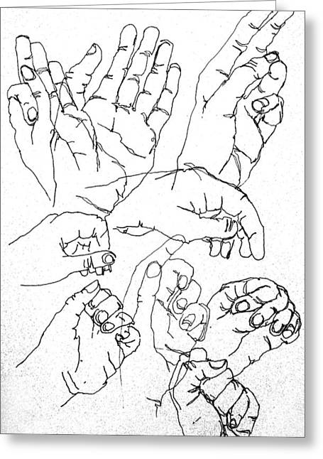 Repetition Drawings Greeting Cards - Hands Greeting Card by James Huntley