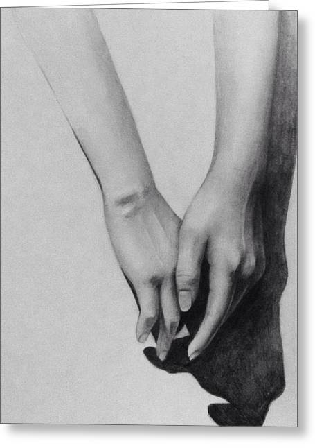 Hyperrealistic Greeting Cards - Hands Greeting Card by Nini Berishvili