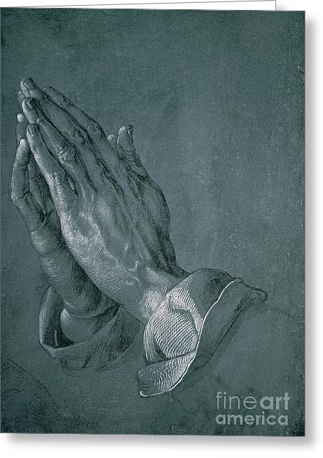 Etching Greeting Cards - Hands of an Apostle Greeting Card by Albrecht Durer