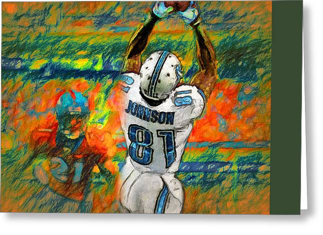 Pro Football Paintings Greeting Cards - Hands of Calvin Greeting Card by John Farr